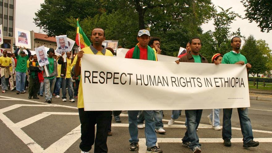 Manifestación en Etiopía para exigir que se respeten los derechos humanos © Elvert Xavier Barnes