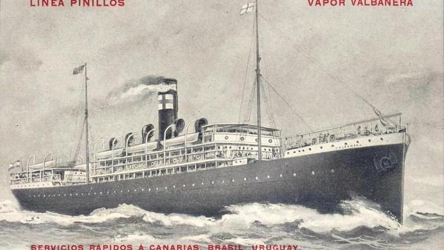 Antigua postal del vapor 'Valbanera'