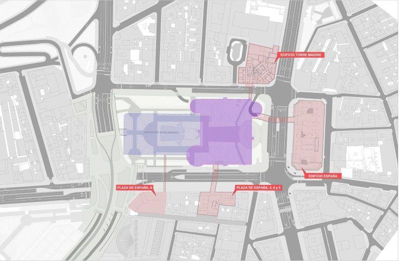 Conexiones de los edificios de las empresas que colaboran en la inversión con el aparcamiento