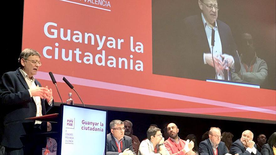 El líder de los socialistas valencianos, Ximo Puig, interviene en el congreso provincial del PSPV en Valencia
