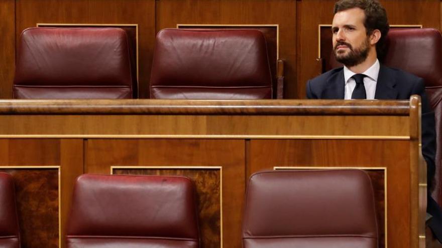 Pablo Casado durante el pleno de control celebrado este miércoles en el Congreso de los Diputados.
