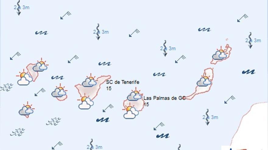 Previsión meteorológica en Canarias para este martes, 20 de enero. AEMET.
