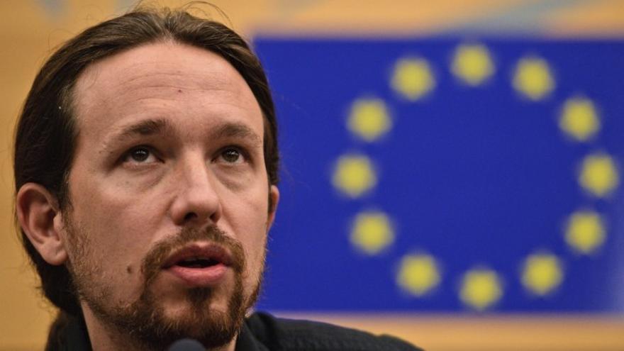 Pablo Iglesias en el Parlamento Europeo. / EFE