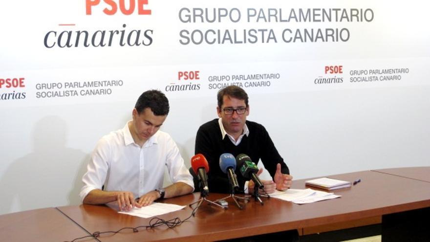 El portavoz del PSOE en el Parlamento de Canarias, Iñaki Lavandera y el diputado Héctor Gómez.