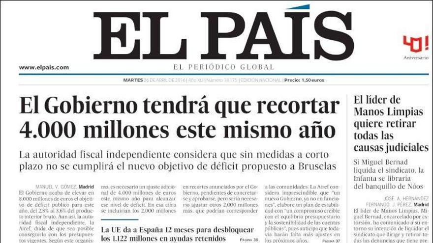 Portada de El País con la demanda a eldiario.es