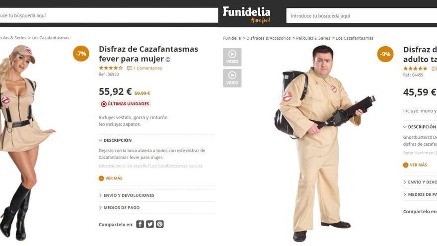Disfraz de hombre y mujer de la película 'Cazafantasmas'.