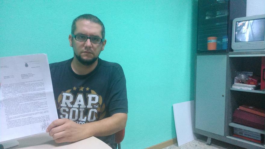 Rubén Fernández, en la sede del Sindicato de Estudiantes en Málaga