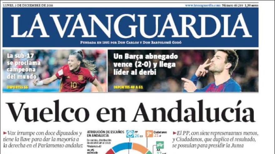 Portada de 'La Vanguardia' del 3 de diciembre