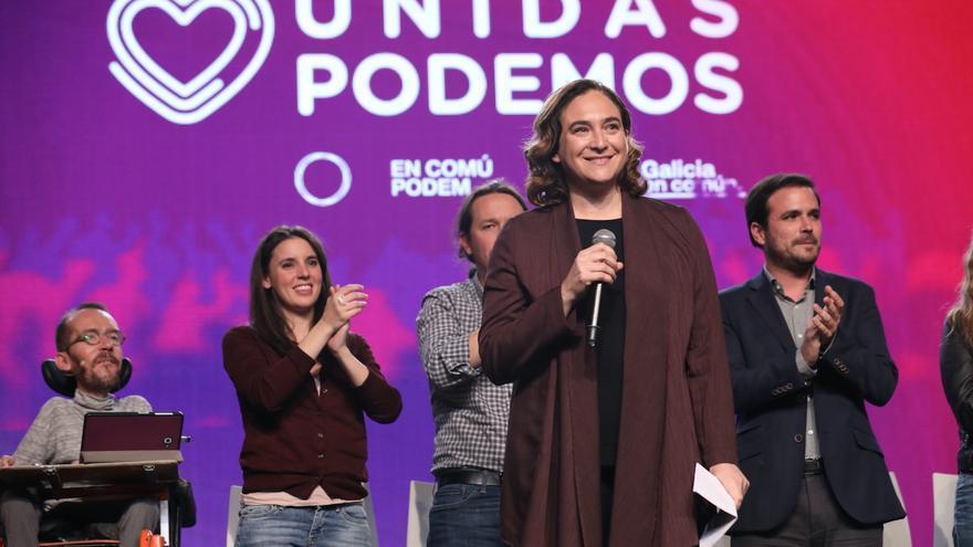 La alcaldesa de Barcelona Ada Colau durante el acto de cierre de campaña de Unidas Podemos en Madrid.