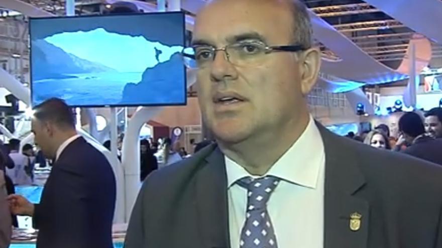 Anselmo Pestana, presidente del Cabildo de La Palma, habló de las fortalezas de la Isla bonita en Fitur.