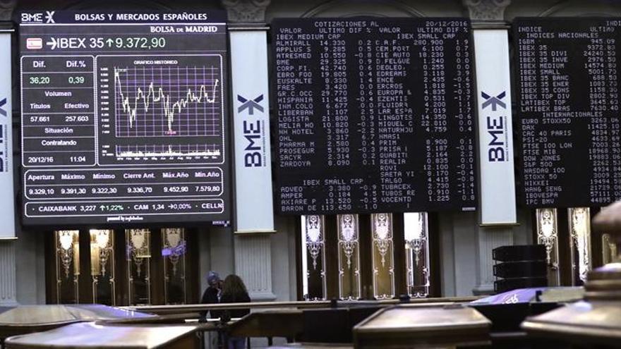 La Bolsa española abre plana y aguanta el nivel de los 9.300 puntos
