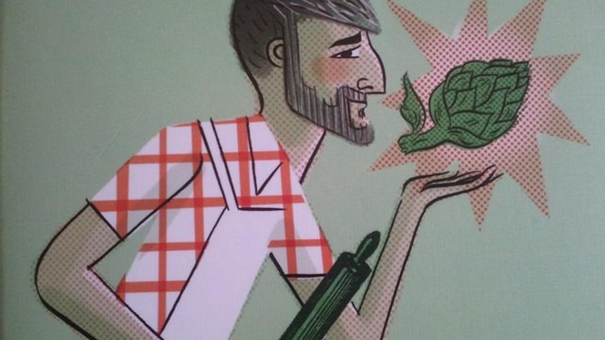 Caricatura de Mikel López Iturriaga en la portada de su libro 'La cocina pop de El comidista'.