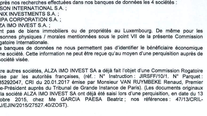Extracto del informe de la Policía Judicial de Luxemburgo en respuesta a la comisión rogatoria de la jueza instructora del caso Erial.