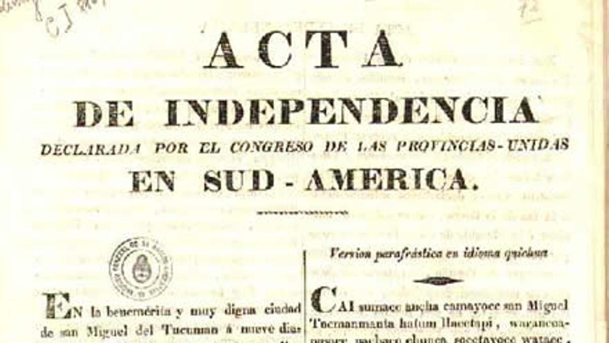 El acta de Independencia, en español y quechua