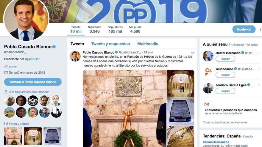 El Twitter del líder del PP, Pablo Casado