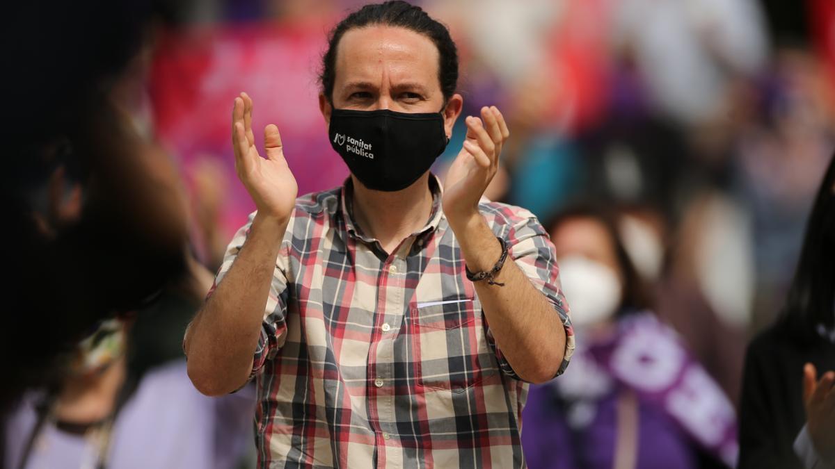 El candidato de Unidas Podemos a la presidencia de la Comunidad de Madrid y secretario general de Podemos, Pablo Iglesias