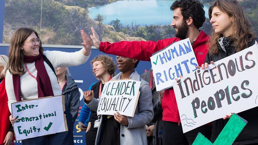 Acción en favor de los derechos humanos en la COP25 (Madrid).