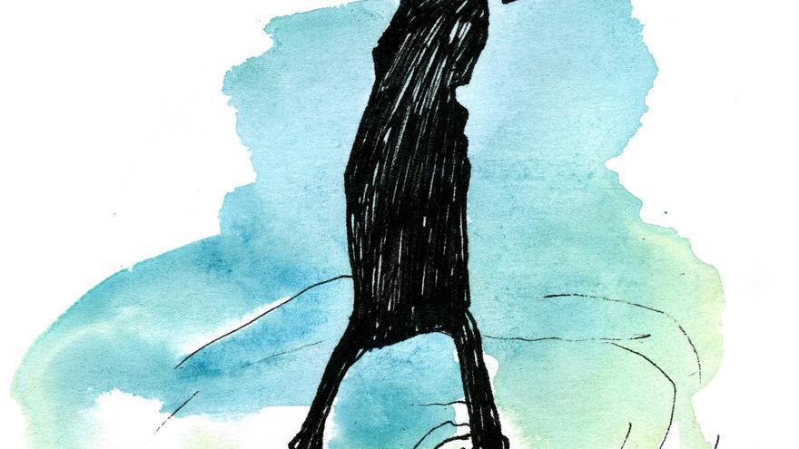 Dibujo de portada del poemario 'Vietnam bajo la cama', de Marta Navarro (Amargord Ediciones, 2015)
