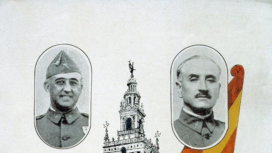 Cartel de 1936 con las figuras de los generales Franco, Queipo de Llano, Mola y José Antonio Primo de Rivera.
