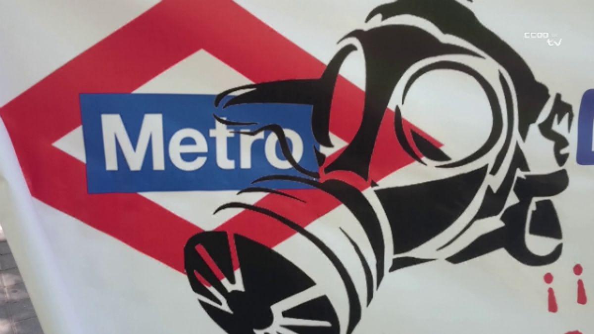 Pancarta de protesta por la presencia de amianto en el Metro de Madrid | CC.OO.