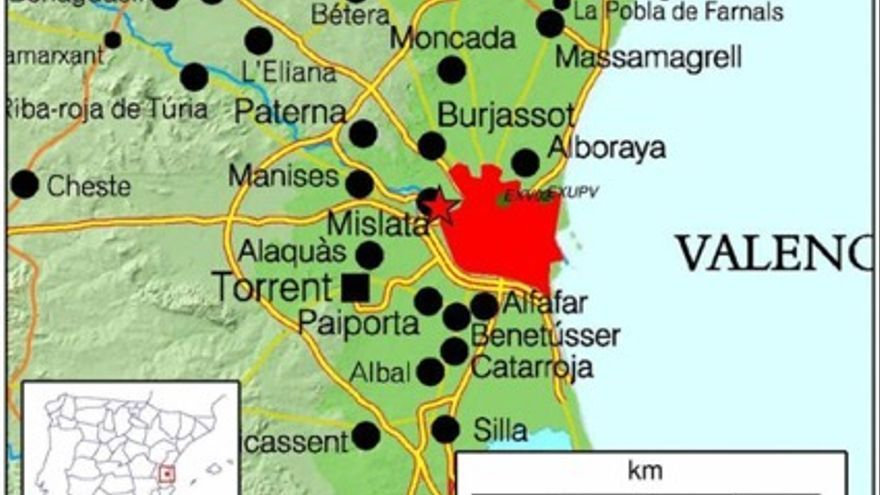 Àrea metropolitana de València.