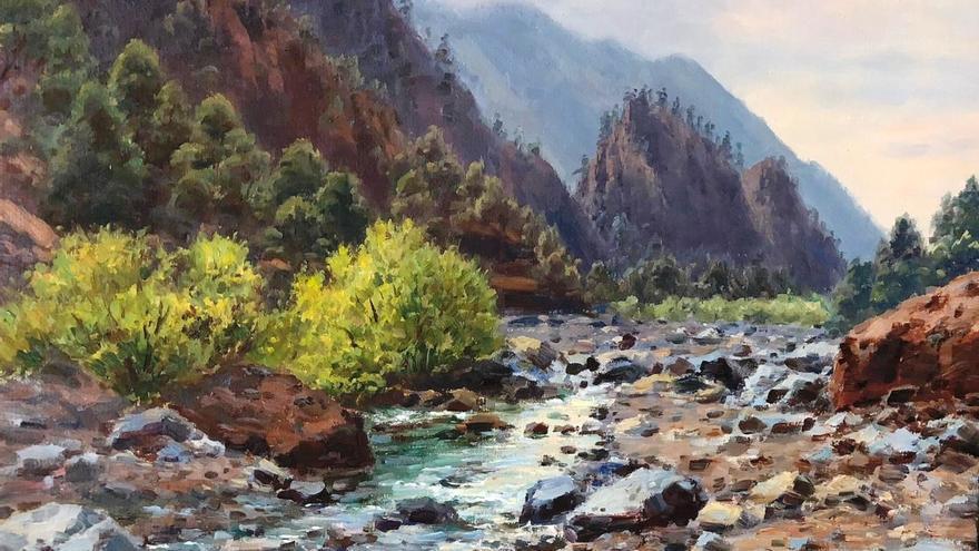 Pintura de Quico Concepción de un barranco de la Caldera de Taburiente.