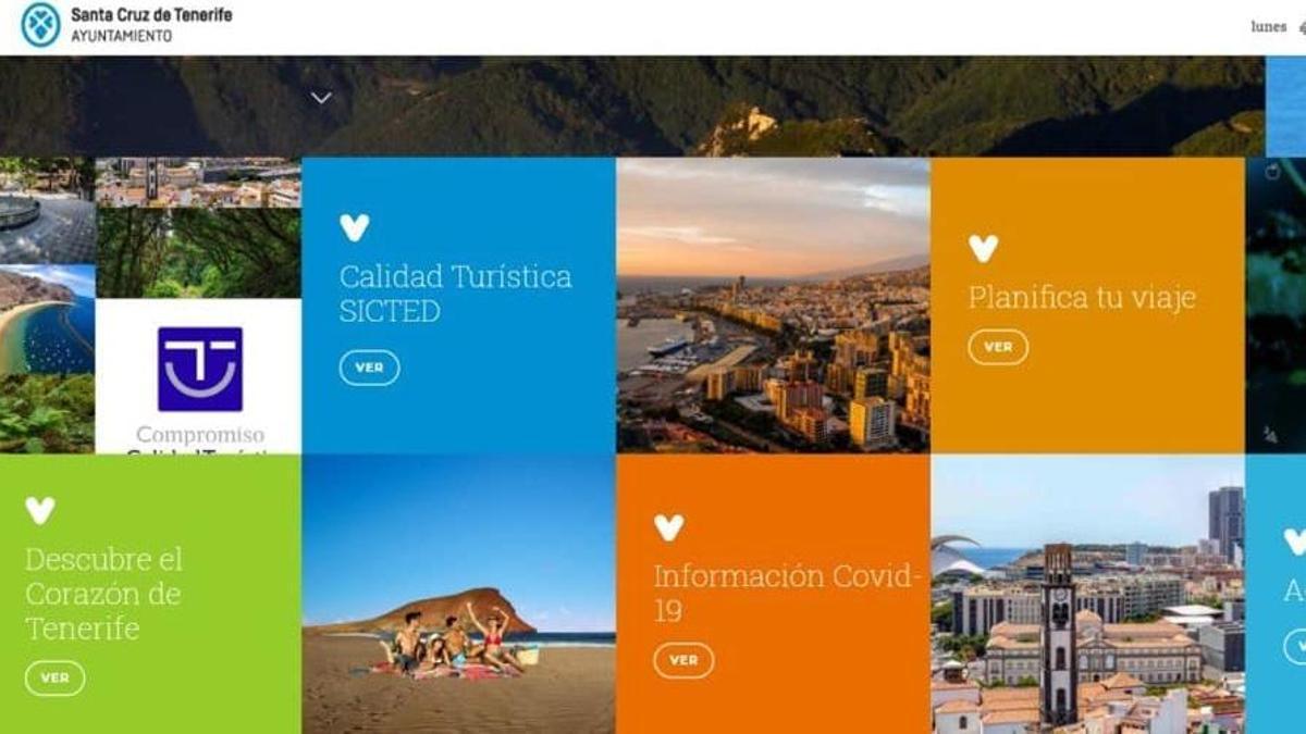 Página web de turismo del Ayuntamiento de San Cruz de Tenerife en la que aparecía una imagen de la playa de Las Teresitas.