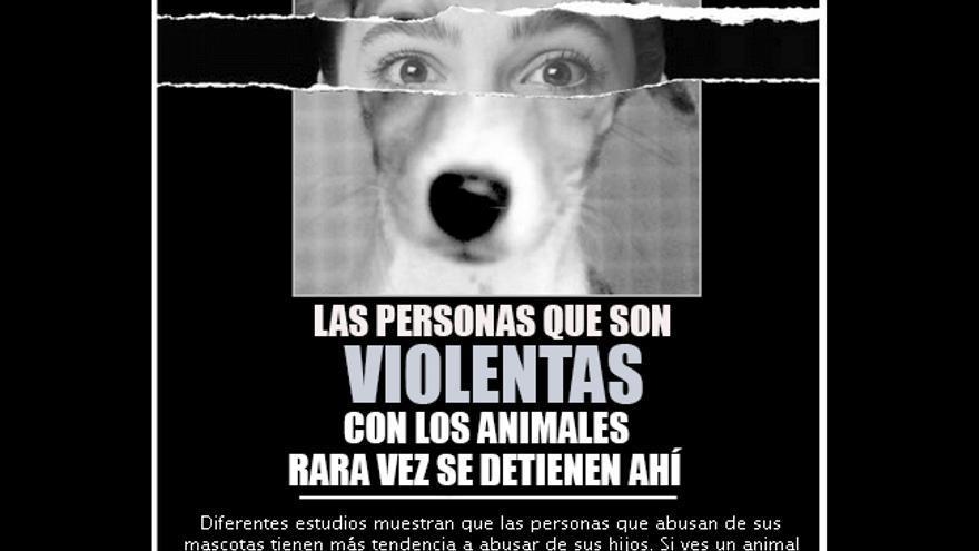 Cartel de una campaña de PETA alertando del vínculo entre el maltrato a los animales y otros tipos de violencia. Foto: PETA