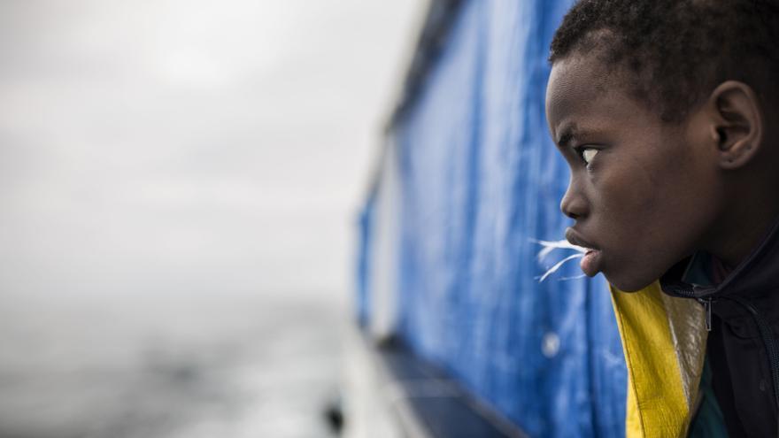 Uno de los niños rescatados por Open Arms