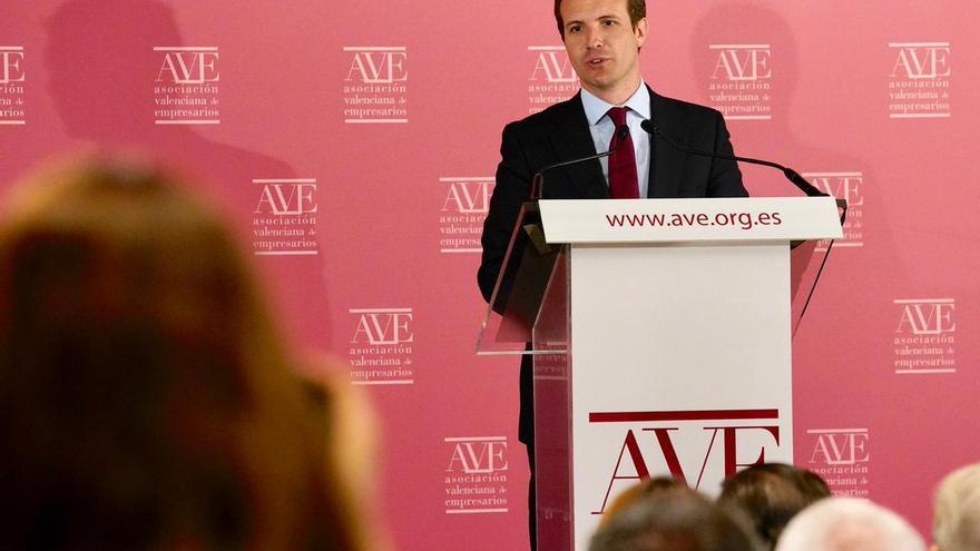 Pablo Casado, en su intervención ante la Asociación Valenciana de Empresarios