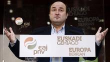 Andoni Ortuzar, en un acto en la pasada campaña electoral para las elecciones europeas.