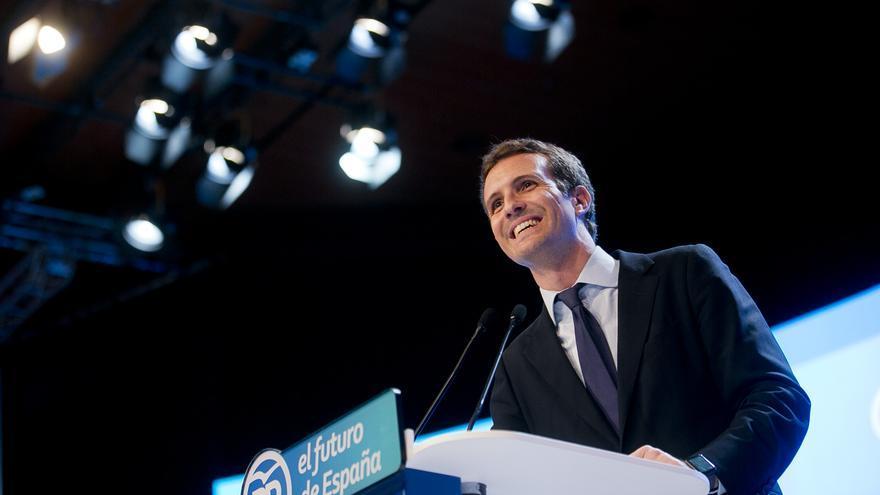 Pablo Casado, tras ser elegido presidente del PP en el XIX Congreso del partido.