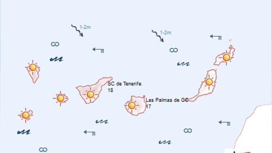 Previsión meteorológica en Canarias para este domingo, 4 de enero. AEMET.