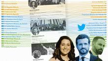 Las cuentas seguidas por los líderes de las tres derechas en Twitter.