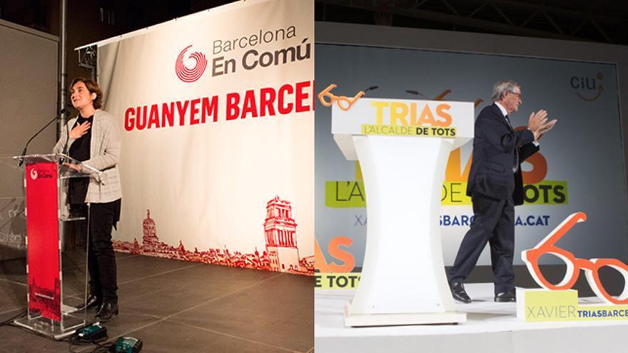 Ada Colau i Xavier Trias en els seus mítings de presentació de campanya / SANDRA LÁZARO - ENRIC CATALÀ