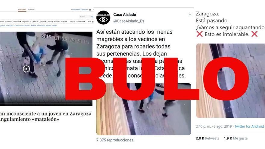 Este vídeo de dos personas asfixiando a un chico en la calle no está grabado en Zaragoza. Es Marruecos.
