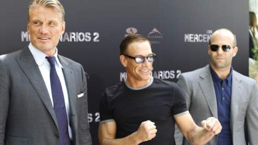 Jean Claude Van Damme en la presentación de Los Mercenarios. / EFE