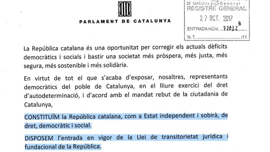 Resolución de JxSí y la CUP aprobada por el Parlament