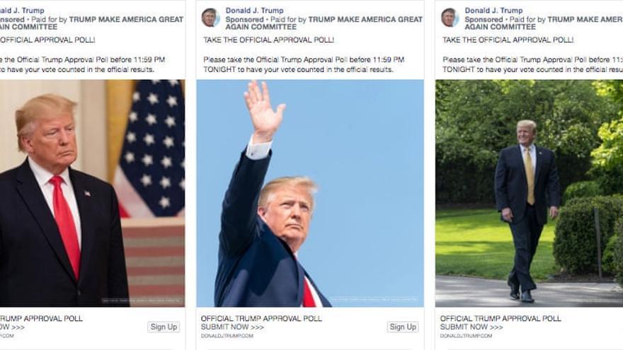Imagen del anuncio de Trump promoviendo una encuesta.
