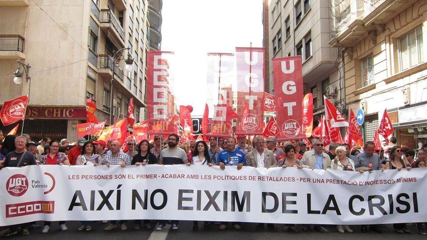 Manifestación del 1 de mayo en 2015 en Valencia