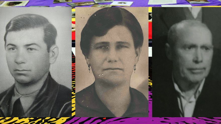 Expectación Jiménez, madre de la joven violada y asesinada, Juan Salas (izquierda) y Manuel Bernete.