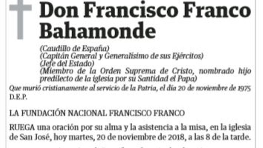 La esquela de Francisco Franco publicada en la edición del 20 de noviembre de 2018 del diario 'El Dia'