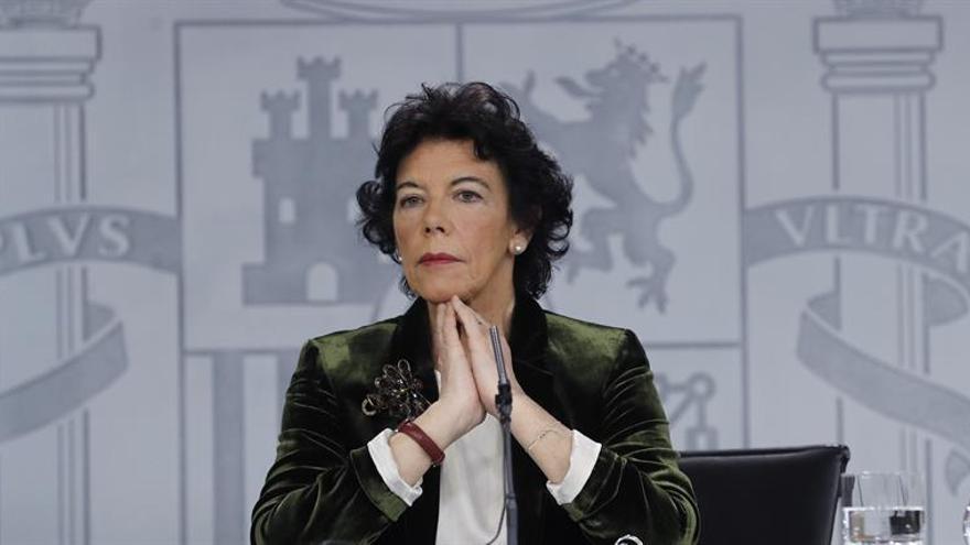 Isabel Celaá, portavoz del Gobierno durante la rueda de prensa posterior al Consejo de Ministros