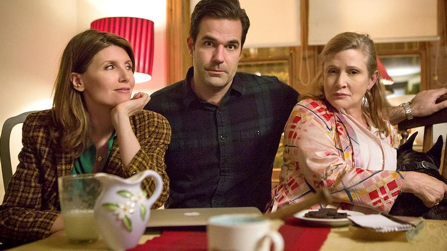 Sharon Horgan, Rob Delaney y Carrie Fisher en 'Catastrophe'