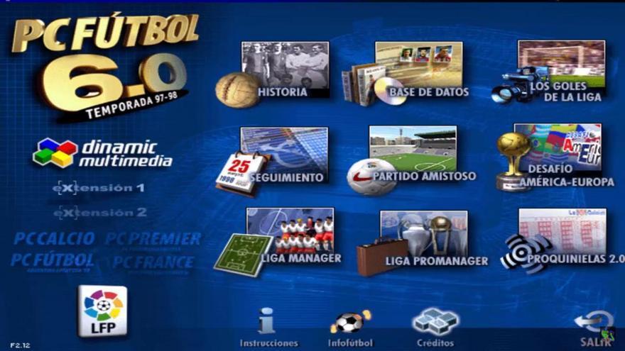 Menú del 'PC Fútbol 6.0'