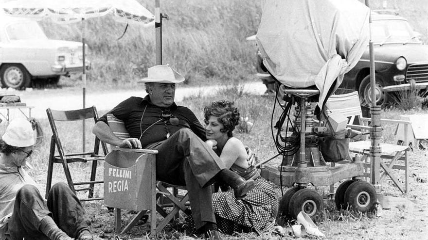 Federico Fellini en el rodaje de 'Amarcord'