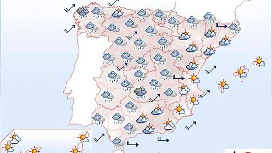 Viento fuerte y lluvias localmente persistentes en Galicia