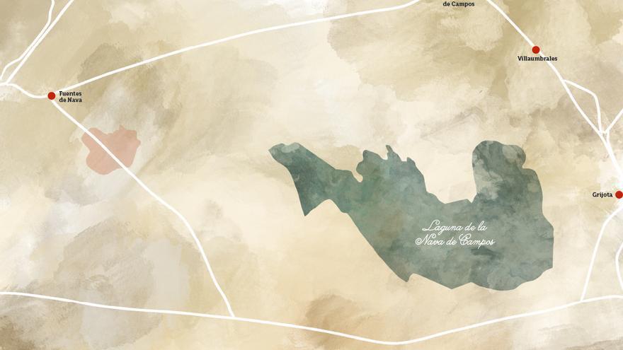 Reconstrucción del Mar de Campos según mapas anteriores a su desecación.