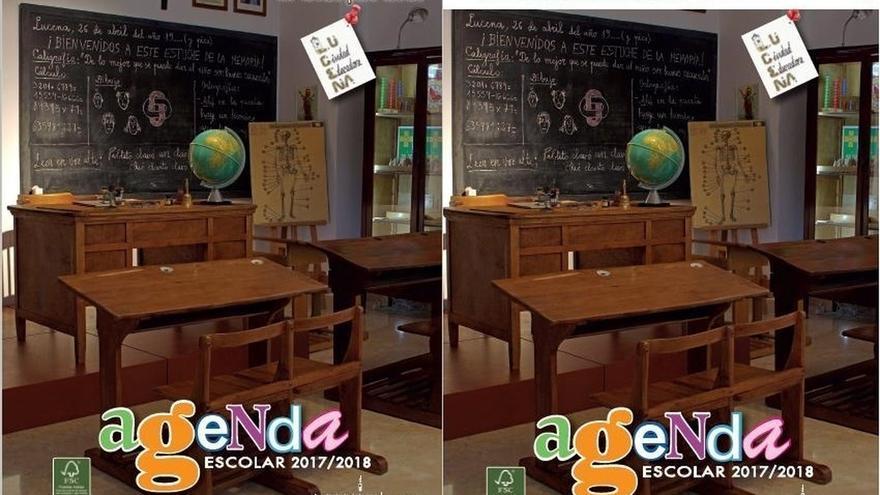 Finalmente cambiarán la portada de la agenda escolar de Lucena en vez de solo tapar la imagen de Franco