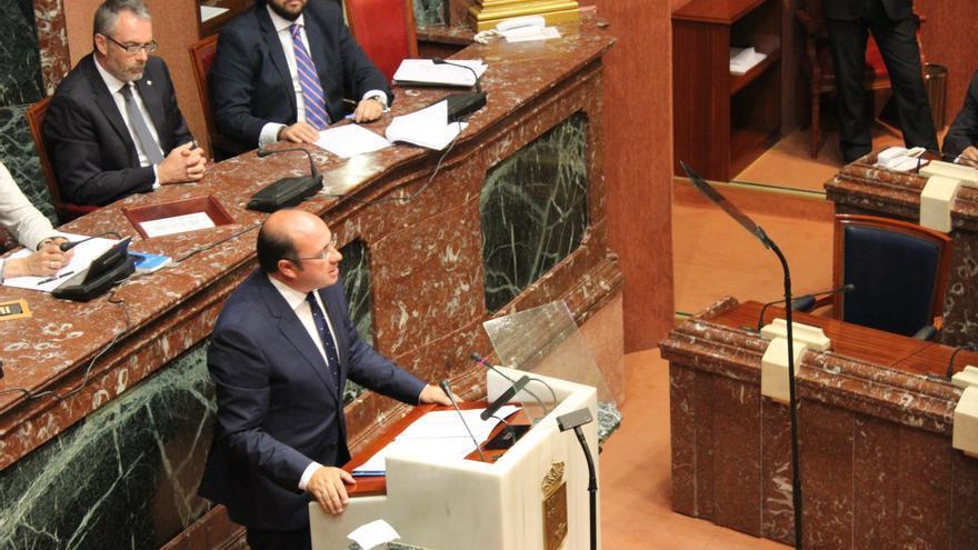 Pedro Antonio Sánchez durante su discurso en la primera sesión del Debate de Investidura / PSS